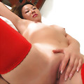 Cute Asian Nana poses with her red tights